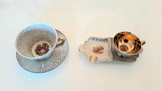 juego tazas porcelana café con cenicero y te