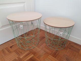 NUEVO - Set 2 mesas auxiliares nórdicas verde