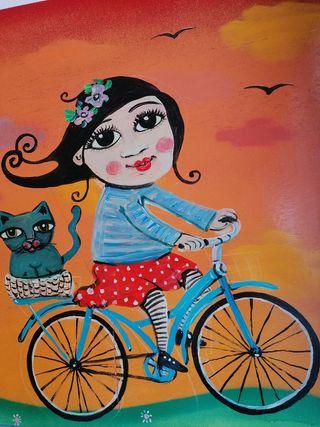 Pintura Paseo en Bicicleta artista Marina Maass