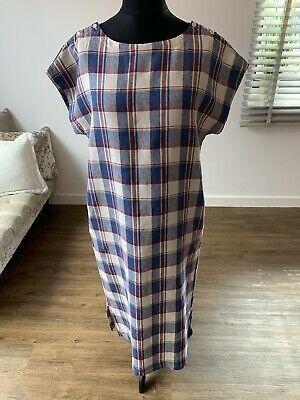 Women's Toast Red & Blue Check Sleeveless Linen Dr