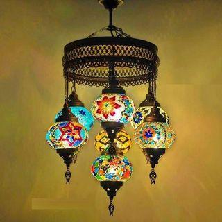 Lámpara Turca Teselas Colores 7 Tulipas ¡ENVIO GRA