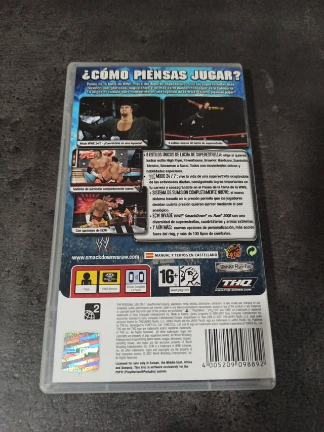 Smack Down Vs Raw 2008 (Juego Psp)