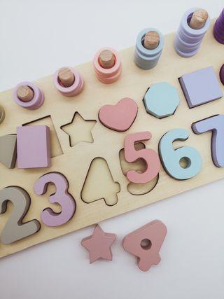 encajable números madera