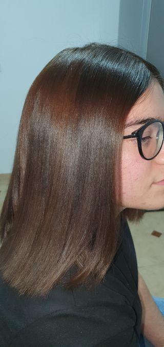 clienta encantada con su cabello