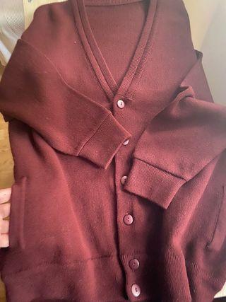 Cardigan jersey abierto, de caballero granate