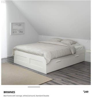 Brimnes ikea double bed with storage