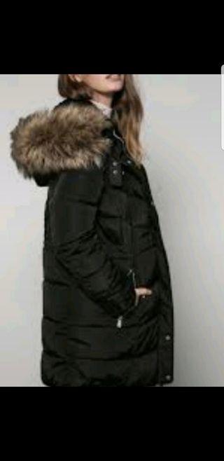 Abrigo/parka muy largo plumas .Negro.L