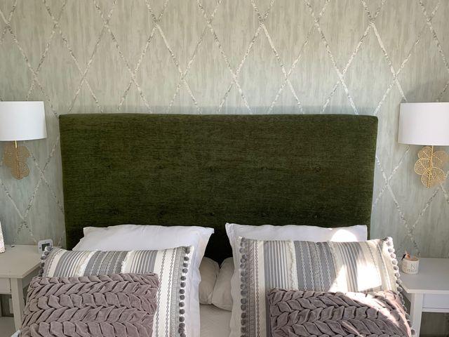 Cabecero tapizado tela verde