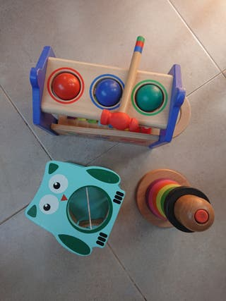 Lote juguetes de madera