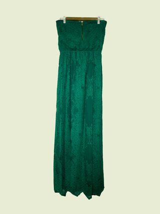 Vestido verde largo encaje Mango