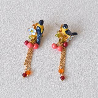 Les Néréides boucles d'oreilles canaris et cerises