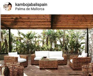 Set sofa saint tropez de ratán de Bali