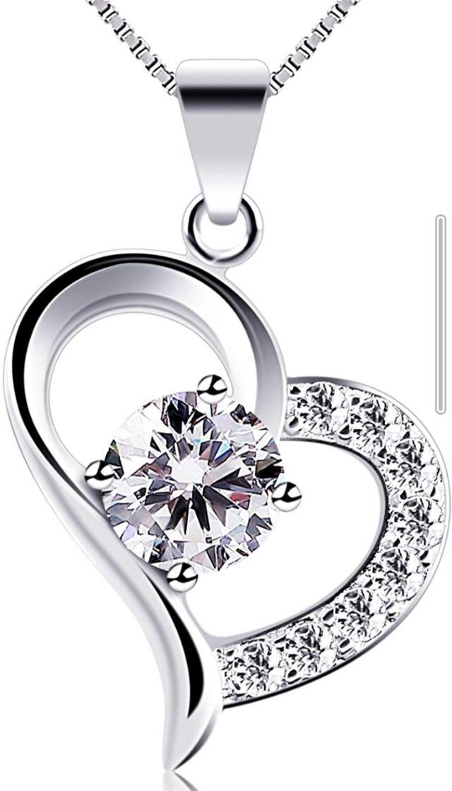 collar plata precioso amante sonado mujer