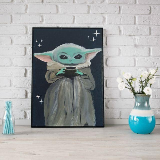 Baby yoda on canvas