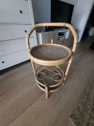 Vintage mueble bar de bambú y rattan