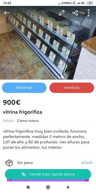 Vitrina frigorífica.