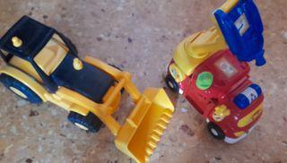 pala escabadora y coche bomberos.para niños