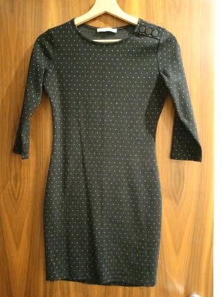 Mango Black Mini Dress with Mini Polka Dots