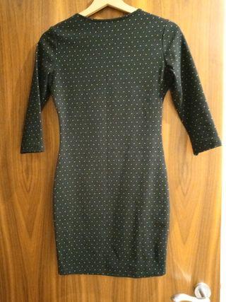 Mango Black Mini Dress with Mini Polka Dots