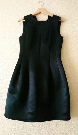 vestido negro de raso para fiesta, ceremonia