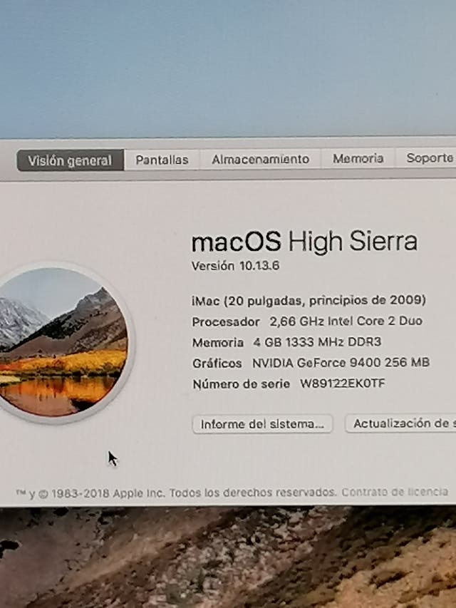 """Ordenador todo en uno Apple iMac 20"""""""