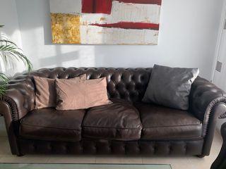 Sofa chester piel original con dos butacas y puff