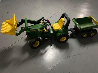 Tractor infantil con pala y remolque a pedales