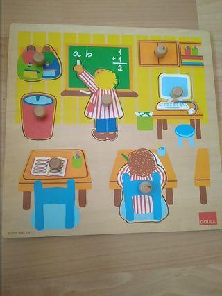 Puzzle Goula Vocabulario Escuela madera