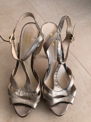 Zapatos tacon plata envejecida 39
