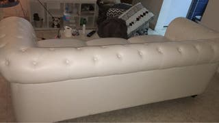 Sofá de piel chester blanco