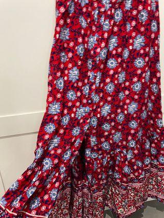 Falda larga estampada flores de Mango, talla S
