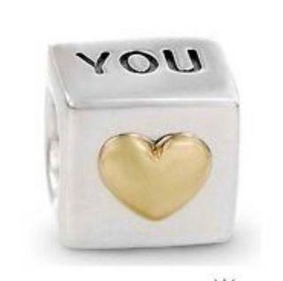 Charm pulsera Pandora I love you oro y plata