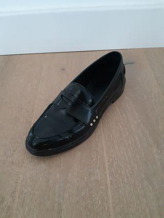 zapatos mocasines negros piel