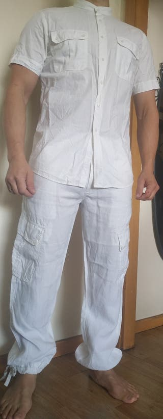 traje hombre ibicenco boda lino blanco mao