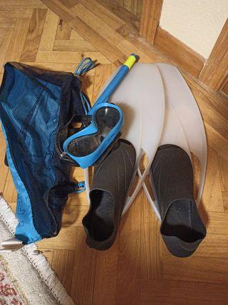 Pack Snorkel aletas gafas y tubo