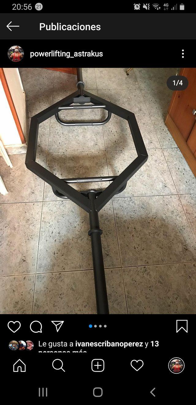 Cambio barra hexagonal por 2 discos de 20kg 50mm