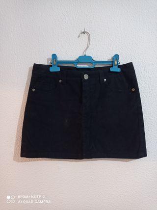 Falda azul tacto ante