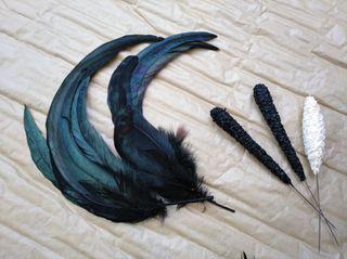 Plumas negras de gallo para tocado