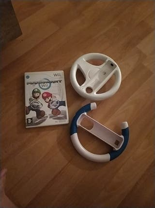Juego Mario Kart Wii con volantes.