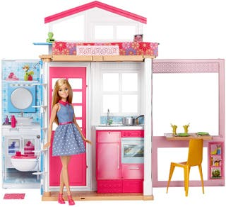 Barbie - Casa dos pisos plegable, casa con muñeca