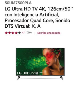 televisión Smart TV LG ultra HD 4k de 50 pulgadas