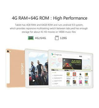 4G LTE Tablet 10 Pulgadas YOTOPT - Android 9.0, 4G