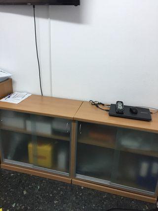 2 muebles oficina puertas cristal corredera