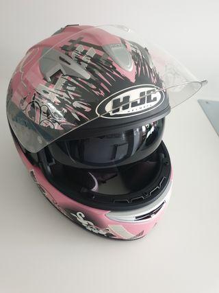 Casco de moto rosa flores HJC