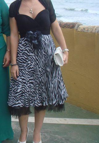 Vestido fiesta blanco y negro