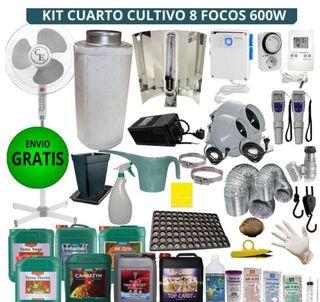 kit cultivo 8 focos 600w