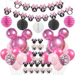 decoración fiesta de cumpleaños temática minnie