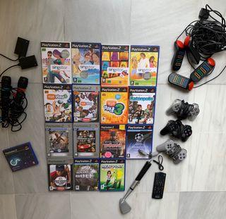 Lote de juegos y accesorios de playstation 2