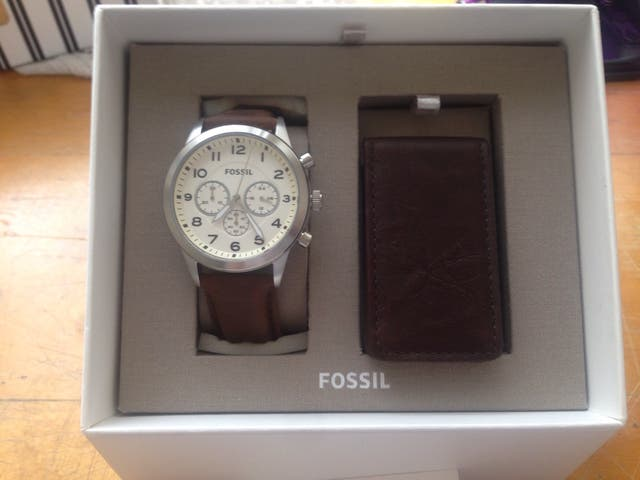 Fossil chronograph brown leather watch BQ2280 set