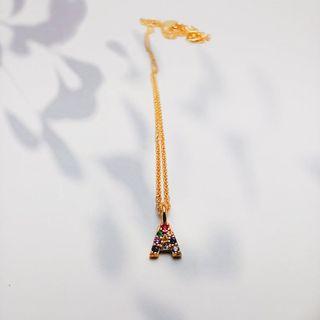 Colgante plata chapada en oro con Letra A